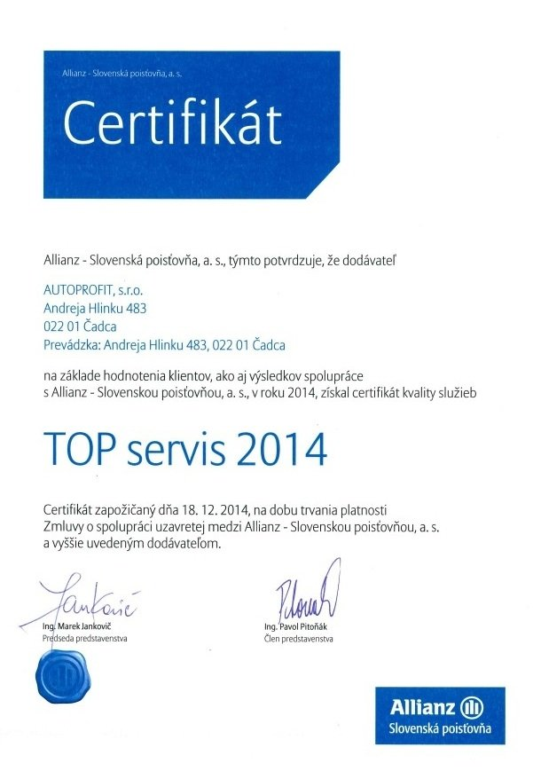 AUTOPROFIT GROUP - Top servis 2014